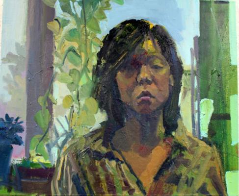 """Self Portrait in Studio"", 2015, mixed media on canvas, 30 x 36"""