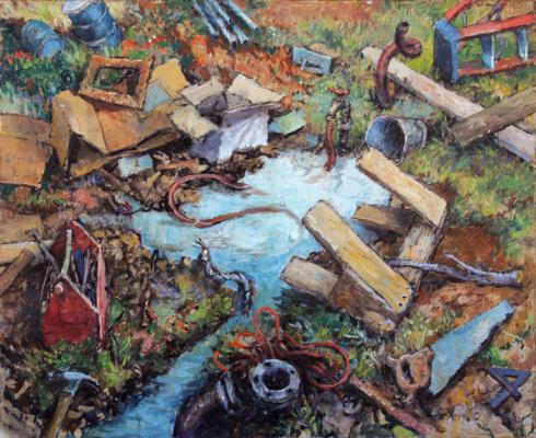 "Chester Arnold, ""Sidetrack"", 2013, oil on linen panel, 12 x 15"""