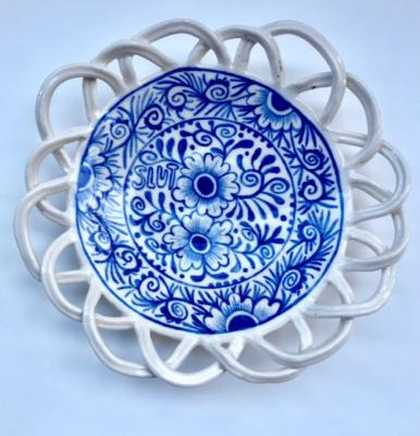 "Elyse Pignolet, ""Slut"", 2018, ceramic plate with glazes, 6.5"" diameter"