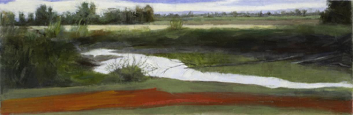 """Slough with Red Foreground"", 2011, oil on paper, 4.5x13.5"""