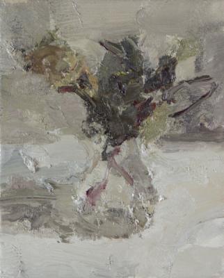 "Jordan Wolfson, ""Still Life with Roses I"", 20914, oil on linen, 12 x 9"""