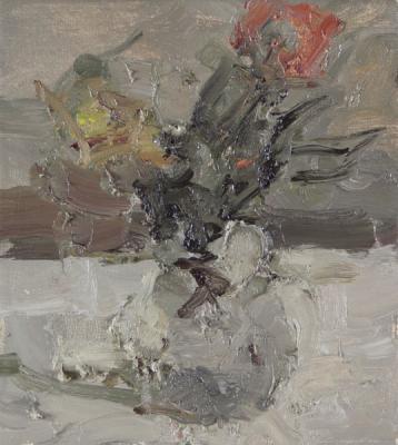 "Jordan Wolfson, ""Still Life with Roses II"", 2014, oil on linen, 12 x 10"""