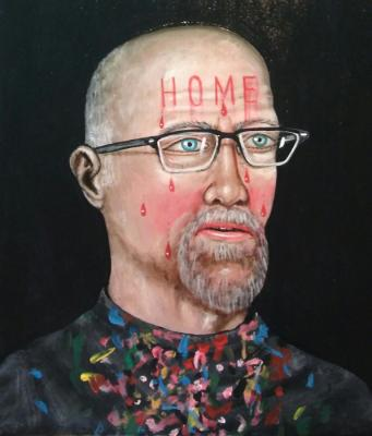 """Fred Stonehouse, """"Self Portrait"""", 2016, acrylic on panel, 20"""" x 16"""""""