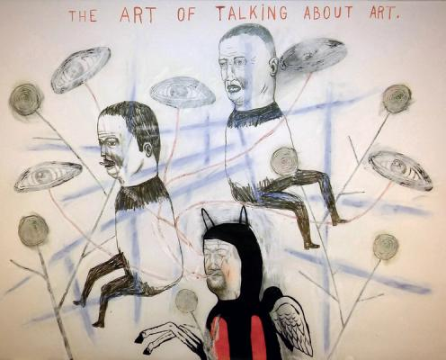 "Fred Stonehouse, ""Talking About Art"", 2017, acrylic, graphite, crayon on vellum, 18"" x 24"""