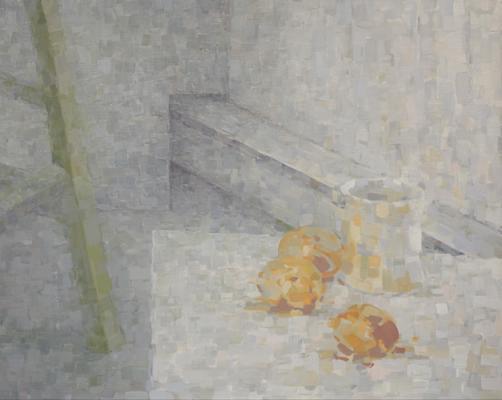 """Eric Elliott, Studio Corner 2 (Oranges) 2011, oil on paper, 21x26.5"""""""