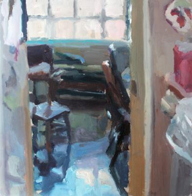 "Laura Swytak, ""Parent's House"", oil on vellum, 9 x 9"" image"