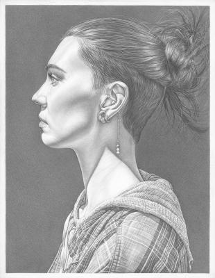 "Robert Schultz, ""Tayla"", 2017, silverpoint on gessoed panel, 9"" x 7"""