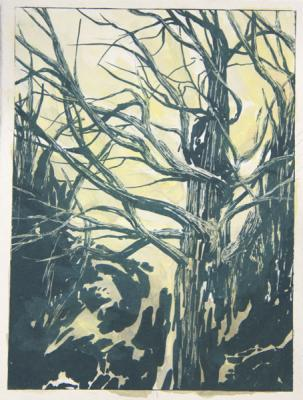 "Tamblyn Gawley, ""Abeltasman 1"", 2014 gouache and lithograph on paper, 8 x 6"""