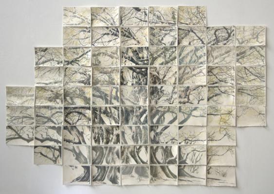 "Tamblyn Gawley, ""Albert Park, Aukland"", 2014, gouache & lithograph, 38 x 56"""
