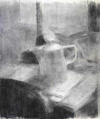"Eric Elliott, ""Teapot"", charcoal on paper, 22 x 18"""