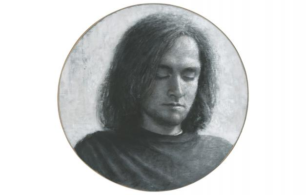 "Tim Lowly, ""Teel Short"", 2014, acrylic on panel, 16 x 16"""