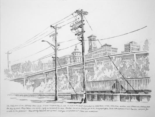 """""""The Chinatown in the NP Half-Moon Yards, 2017, Chinese ink on paper, 9"""" x 12"""""""