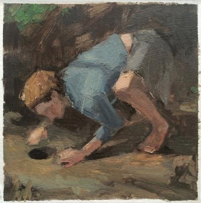 """Anne Petty, The Hunter's Hole, 2016, oil on paper, 6 x 6"""", 10.75 x 10.75"""" framed"""