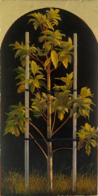 "Darlene Campbell, ""To Stand (Homage to David Ligare)"", 2007, oil and gold leaf on wood block, 12 x 6"""