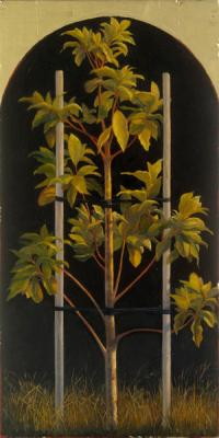 "Darlene Campbell, ""To Stand (Homage to David Ligare)"", 2007, oil and gold leaf on wood block, 12"" x 6"""