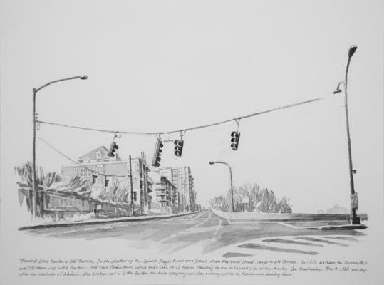 """Toward Little Canton in Old Tacoma"", 2017, Chinese ink on paper, 9"" x 12"""