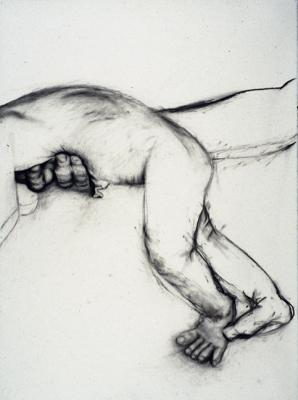 "Linda Thomas, ""Here You Take It"", 1997, charcoal on paper, 30x22"""
