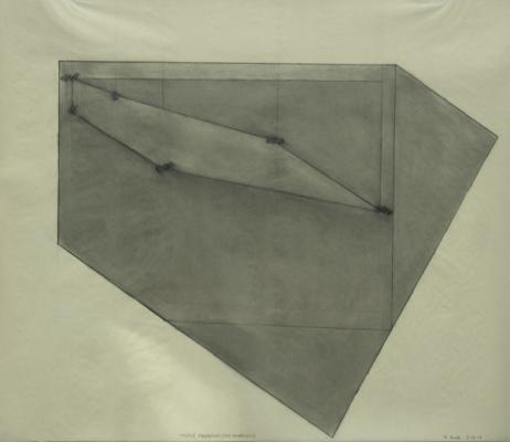 "Robert Maki, ""Triple Pentagon, Six Locations"", 1979, graphite on vellum, 19 x 24"" im., 25 x 30"" framed"