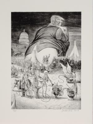 """""""The Horrible & Terrible Deeds &  Words of the Very RenownedTrumpagruel"""" (page 8), 2017, lithograph, 15 x 11 in. [sheet size]  Series of 11 prints"""