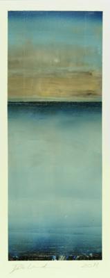 """Dale Lindman, """"Kalaloch"""", 2014, oil, wax on Yupo paper, 12 x 4.5"""" im., 22.25 x 13.25"""" fr."""