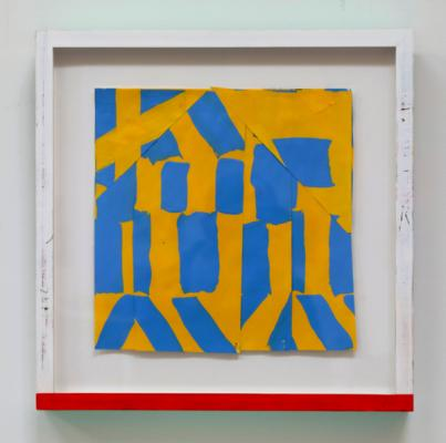 """Michael Howard, Untitled (#23-18) 2018, acrylic/paper, 17 1/4"""" x 17"""" framed"""