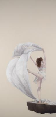 "Judy Nimtz, ""Air (gilvus)"", 2015, oil on panel, 48"" x 24"""