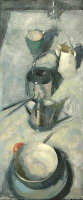 """Dean Fisher, """"Vertical Still Life"""", 2012, oil on canvas, 38 x 16"""""""