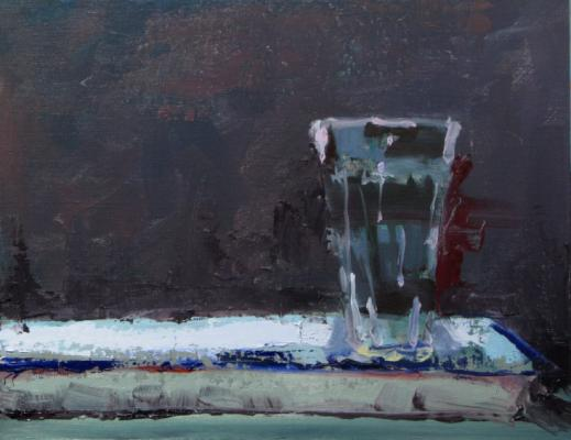 """Water Glass"", 2012, oil on panel, 11 x 14"""