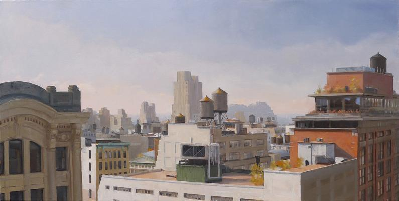 "Kenny Harris, ""Water Towers over 23rd Street"", 2014, oil on canvas, 24"" x 48"""