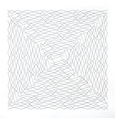 "Chris Watts, ""Linear Link, Two Spirals, Grid"", pencil and ink on paper, 30 x 30"" im., 36 x 36"" fr."