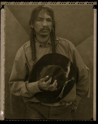 """Wes, White Swan, (Rodeo triptych)"", triptych completed 1986, sepia-toned silver gelatin print, 20 x 16"" paper size"