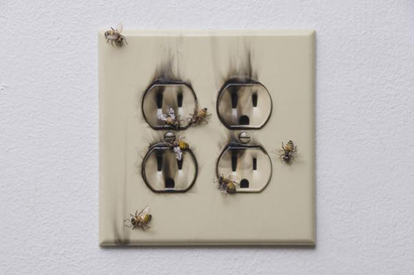 """Sarah Perry, """"Where There's Smoke"""", 2015, handmade bees, outlet, smoke, sealants, mixed media, 5.5"""" x 5.25"""" x .75"""""""