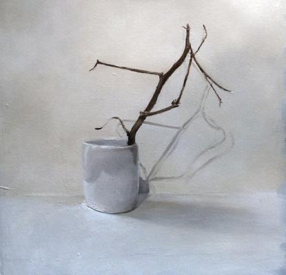 """Kimberly Clark, """"White Cup with Cotton Branch"""", 2015, oil on paper, 10"""" x 10"""""""