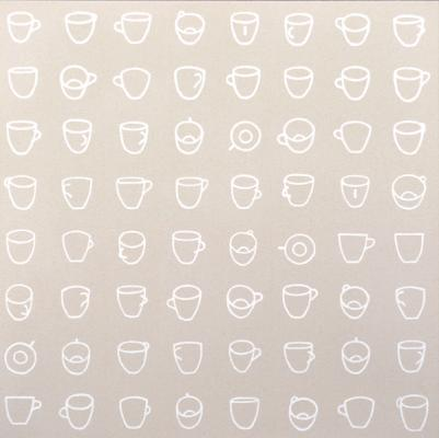 """Cable Griffith, """"White Cup, 64 Views"""", 2015, acrylic on canvas, 24 x 24"""""""