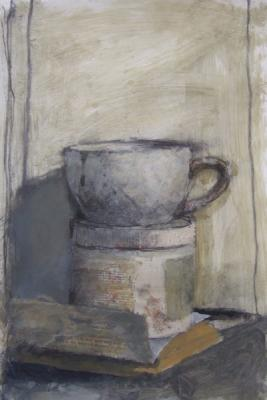 """Bob Schlegel, """"White Cup with Jar"""", 2015, mixed media, 14 x 10"""""""