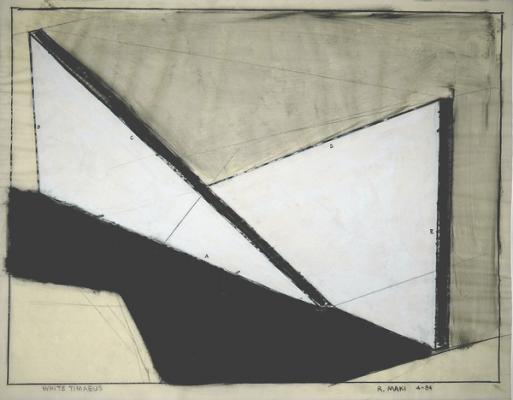 """Robert Maki, """"WHITE TIMAEUS"""", 1984, graphite & white pigment on vellum, 19 x 24"""""""