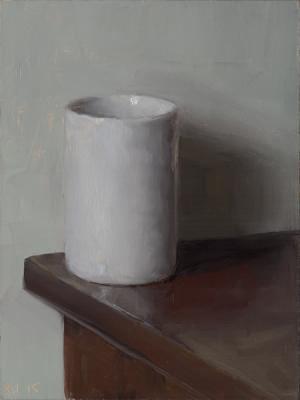 """Kenny Harris, """"White Cup on Green Wall"""", 2015, oil on panel, 8 x 6"""""""