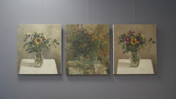 "Installation image, Jordan Wolfson, ""Still Life with Sunflower Series"""