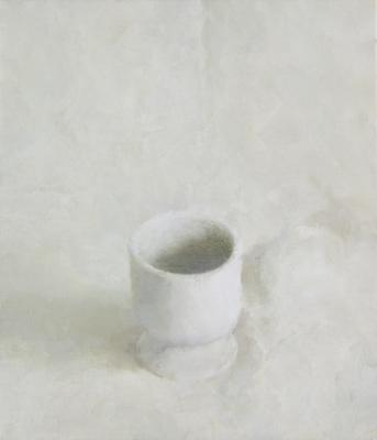 "Jordan Wolfson, ""Still Life with White Cup"", 2015, oil on linen, 14 x 12"""