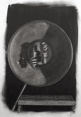 """Evelyn Woods, """"Lux Duet"""", charcoal on paper, 29 x 20.75"""""""