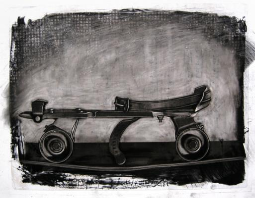 """Evelyn Woods, """"Skate"""", 2011, charcoal on paper, 14.5 x 17.25"""""""