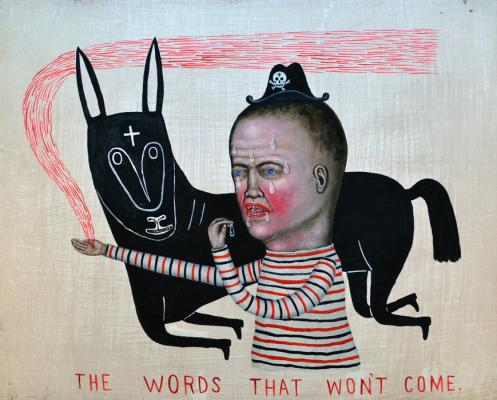 "Fred Stonehouse, ""The Words That Won't Come"", 2017, acrylic on wood, 16"" x 20"""