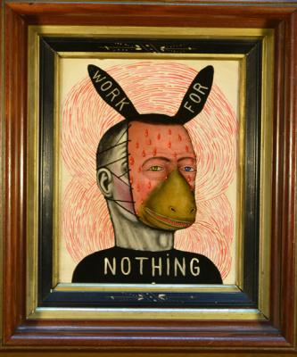 "Fred Stonehouse, ""Work for Nothing"", 2017, acrylic on panel with antique frame, 15"" x 12"""