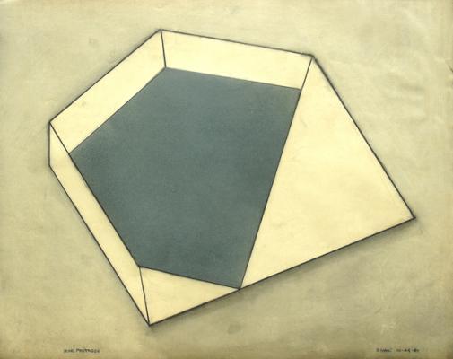 "Robert Maki, ""Pentagon"", 1981, graphite & pigment on vellum, 19 x 24"" im., 25 x 30"" fr."