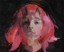 """""""Pink Wig"""", 2015, oil on canvas board, 11 x 14"""""""