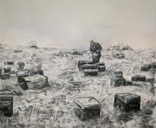 "David Bailin, ""Belongings"", 2008, charcoal on paper, 52.5""x54"""