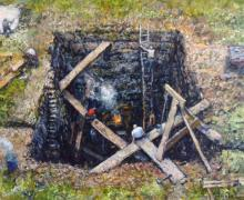"Chester Arnold, ""Hole in the Ground"", 2014, oil on linen panel, 8 x 10"""