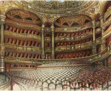"""La Salle, Paris Opera"", 2009, pencil, ink, watercolor on paper, 30 x 44"""