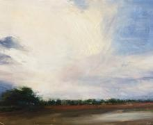"Sally Cleveland, ""White Cloud Above the Slough"", 2008, oil on paper, 5"" x 7"" image"