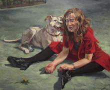 """""""Sara and Her Dog"""", 2013, oil on canvas, 36 x 40"""""""